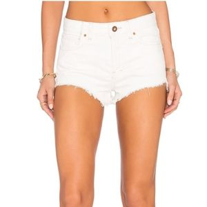 FREE PEOPLE Distressed Hem Button Fly Jean Shorts